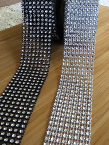 Reflective Ribbon sparkle banding tape black or silver 8 Row 4cm width