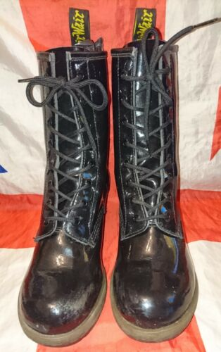 Grunge Rare Chunky darcie Boots nero Patent Doc 5 Heeled Punk Dr goth Martens RSRrPB