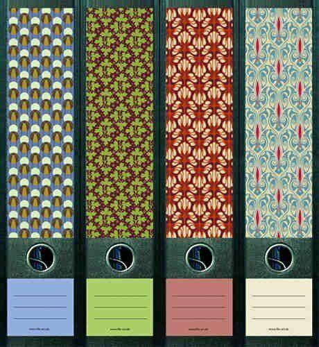 File Art Ordnerrücken Etiketten Pattern  für 8 breite Ordner AJ321+322