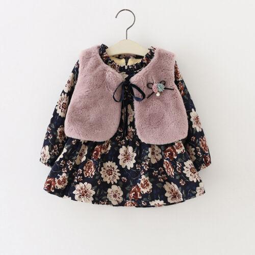 Toddler Infant Baby Girls Floral Faux Fur Vest Princess Dress Set Warm Outfits