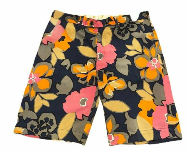 LOUDMOUTH Size 36 Mens Shorts Flat Front Preppy Golf Hawaiian Floral Design