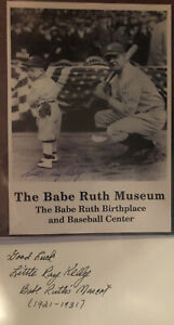 BABE-RUTH-WITH-LITTLE-RAY-KELLY-Babe-Ruth-s-Mascot-SIGNED-With-Postcard