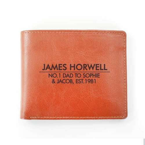 PERSONALISED Men/'s Genuine Quality Leather Wallet Gift For Fathers Day Birthday