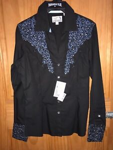 PANHANDLE-SLIM-Women-039-s-Black-Blue-Western-Low-Neck-Long-Sleeve-Shirt-22S1819-NWT