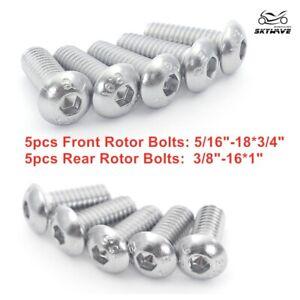 "5pcs Chrome Rear Brake Rotor Bolts 3//8/""-16x1/"" For Harley Dyna Softail Sportster"