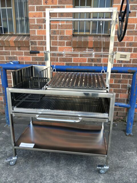 NEW STAINLESS STEEL ARGENTINIAN BBQ GRILL With SPIT ROTISSERIE - SANTA MARIA