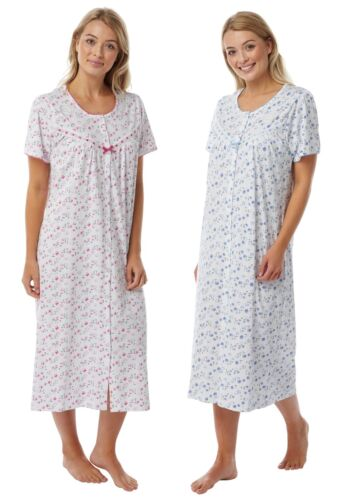 LADIES FLORAL 100/% COTTON JERSEY BUTTON THROUGH  NIGHTIE NIGHTDRESS NIGHTWEAR