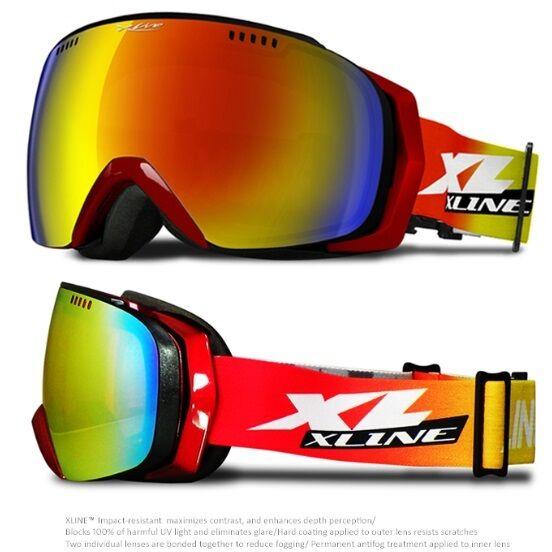 [XLINE] GOGGLES Mens Womens XL8008 SKI SNOWBOARD Snowstorm SNOW OVERLENS Wide