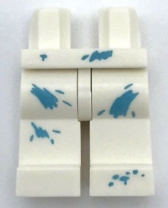 Lego New White Minifigure Hips and Legs with Paint Spots Medium Azure Pattern