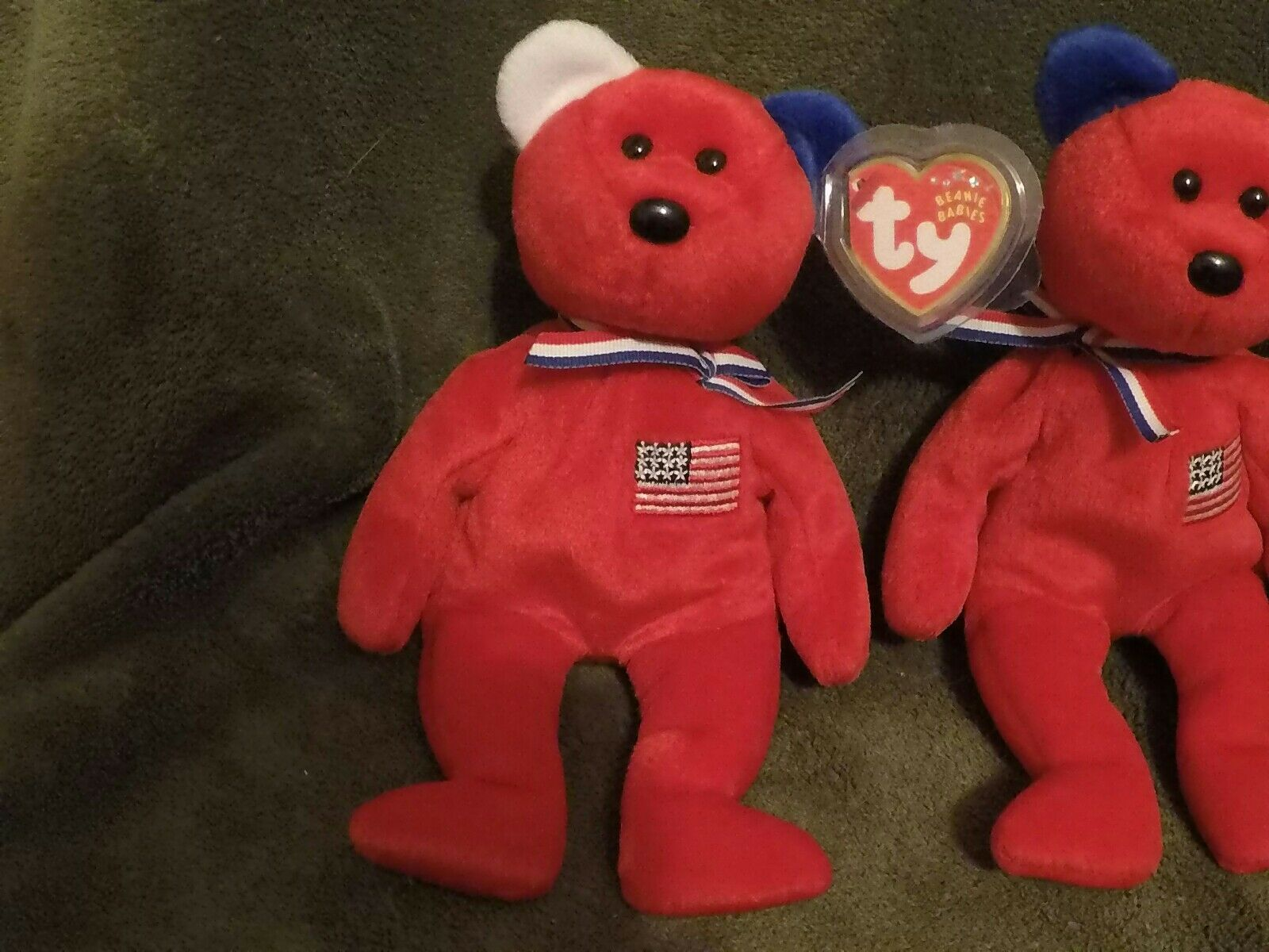 Ty beanie babies Rare Red america set, reversed ear and and and the regular one. a5c193