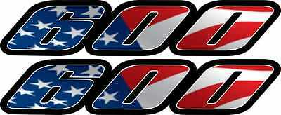 2 Custom American Flag 600 Tail Fairing Decals GSXR Stickers USA gsxr600 gsx-r