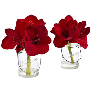 Set of 2 artificial 11 red amaryllis silk flowers arrangements image is loading set of 2 artificial 11 034 red amaryllis mightylinksfo
