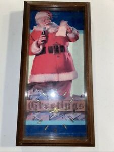 Vintage Coca Cola Santa Clause Framed Clock - 17.5in Tall, 8.5in Wide, 2in Thick