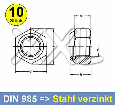 Kontermuttern VB-Schrauben Sicherungsmuttern M3 5 St/ück Sechskantmuttern mit Polyamid Klemmteil Edelstahl A2 V2A Stoppmuttern | DIN 985