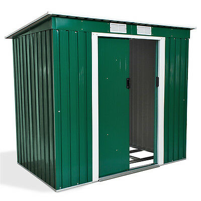 New Metal Garden Shed Pent Tool Storage Shed Summer House 6 X 4 with Foundation