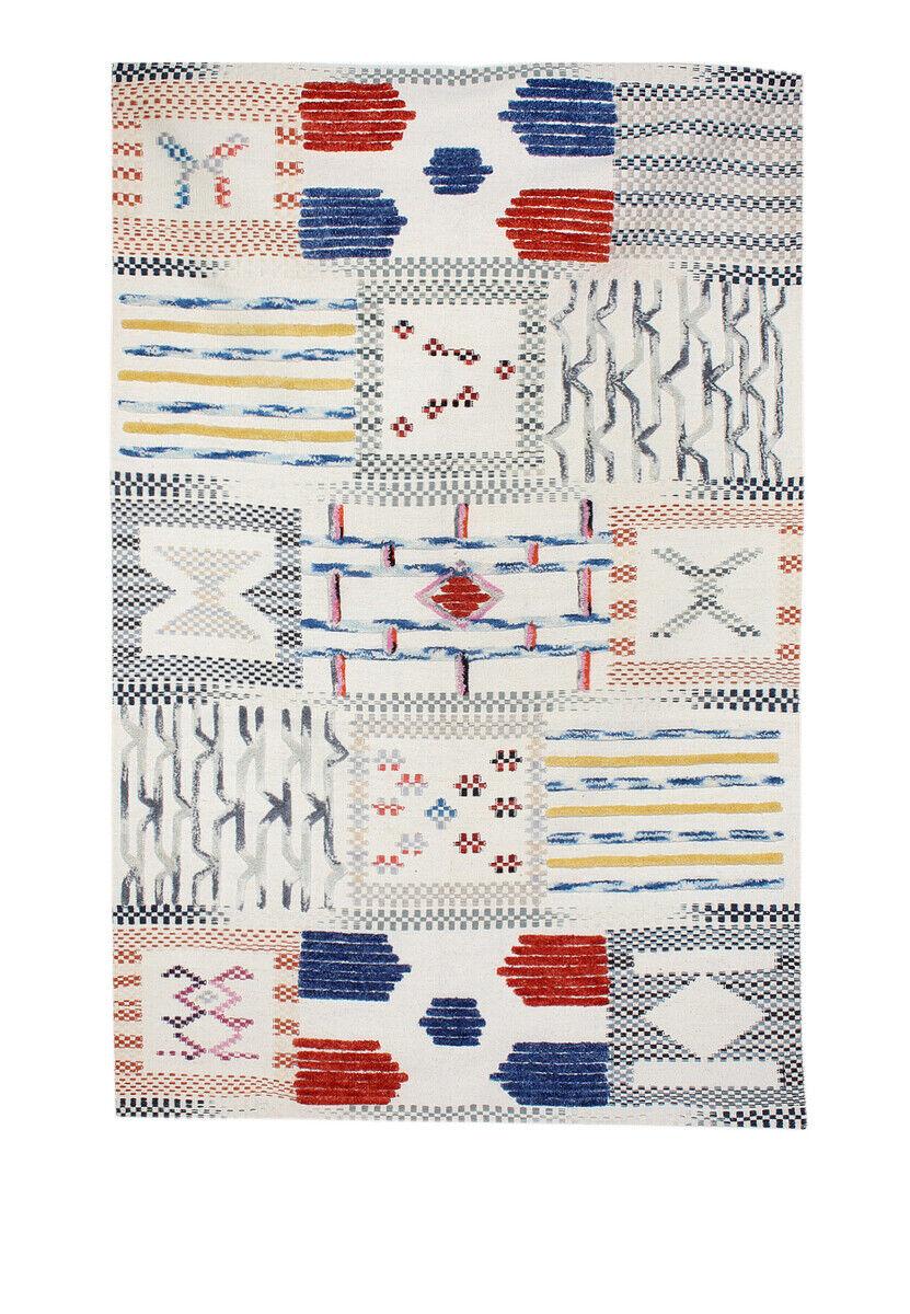Aztèques Tapis Fait Main 3d Optique Tapis Laine Aztec Design Blanc Ivoire