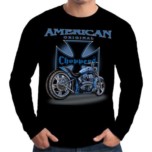 Velocitee Mens Long Sleeve T Shirt Choppers Motorcycle Biker Chopper  W11299