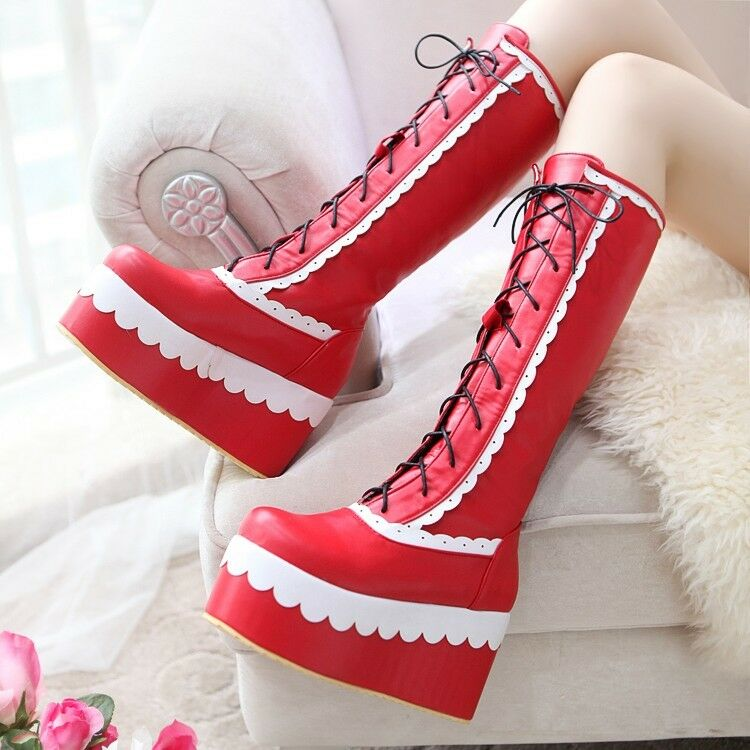 Womens Boots Lolita Chunky Heels Platform Goth Creeper Mid Calf Boots Hallowmas