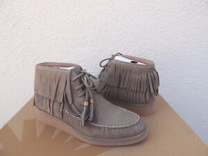 c2ad87bbc832 Image is loading UGG-CALEB-MOUSE-NUBUCK-FRINGE-MOCCASIN-WEDGE-ANKLE-