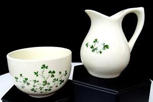 CARRIGALINE-POTTERY-COUNTY-CORK-CARRIGCRAFT-SHAMROCK-3-034-CREAMER-AND-SUGAR-BOWL