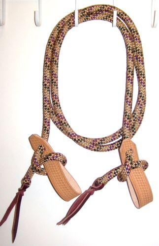 Rein Slobber Strap Rope Loop Reins Mecate Cowboy Tack training trail multi tan