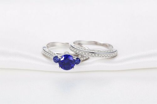 Sterling Silver His Simulated Tanzanite Band Hers Blue Sapphire Wedding Ring Set