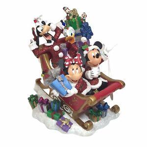 Disney-Parks-Christmas-Sleigh-Mickey-amp-Minnie-Mouse-Goofy-Donald-Chip-Glitter