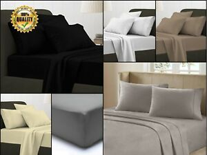 Flat Bed Sheets Plain 100% Egyptian Cotton 200 Thread Count Single Double King