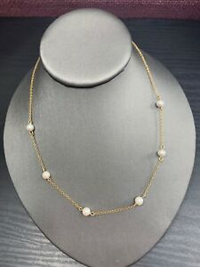 Vintage-Gold-Tone-Necklace-Signed-Napier-White-Imitation-Pearl-Chain-18