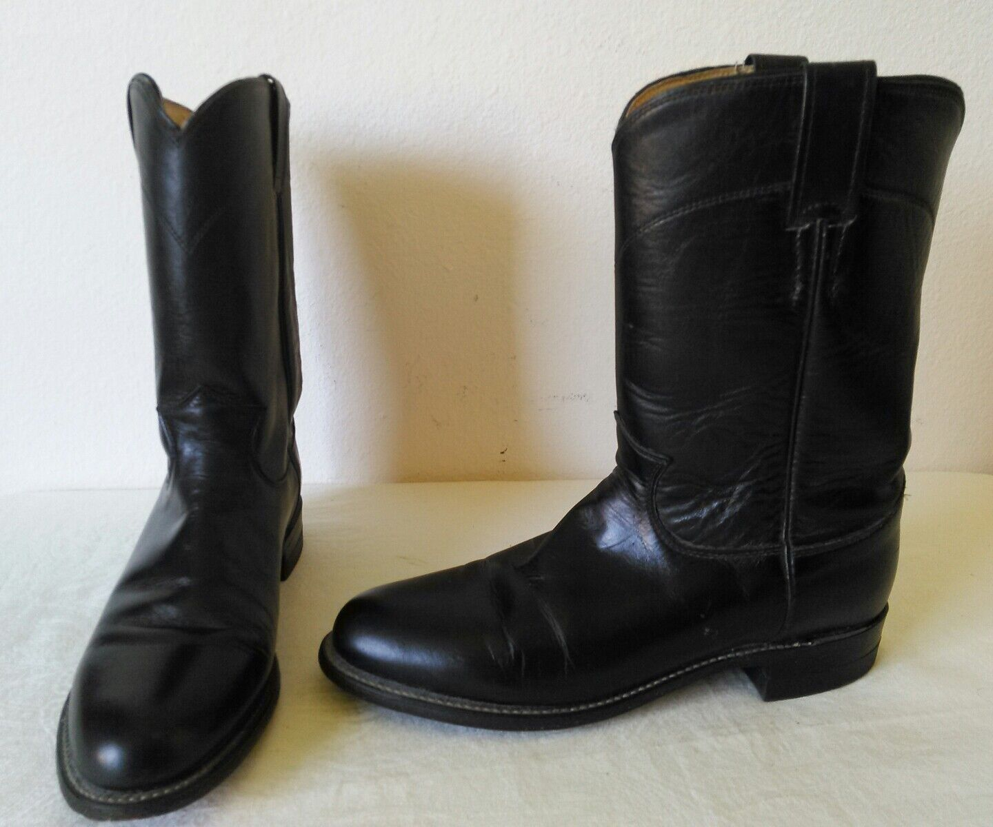 Great JUSTIN BLACK leather Lady's Western  Roper mid-calf boots Size 8 B