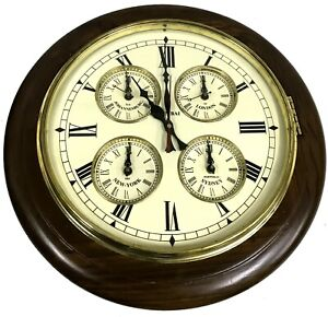 BEAUTIFUL-HANDCRAFTED-DECOR-ANTIQUE-WORLD-039-S-5-TIME-ZONE-VINTAGE-WALL-CLOCK-WC-04