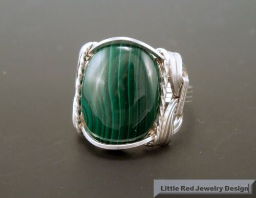 Sterling Silver Malachite Cabochon Wire Wrapped Ring