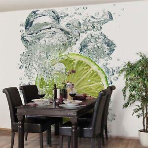 Fototapete küchenmotive  Vliestapete Küchentapete Lime Bubbles Quadrat Fototapete Küche ...