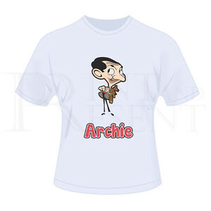 29a229cc6 Image is loading Personalised-Childrens-Boys-Mr-Bean-Cartoon-T-Shirt-