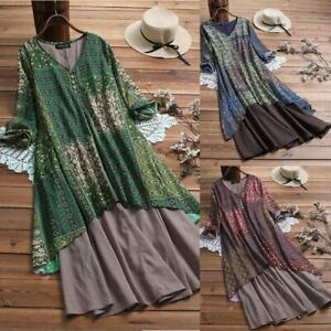 Women-Boho-Retro-Floral-Print-Baggy-Linen-Cotton-Long-Sleeve-Dress-Loose-Ladies