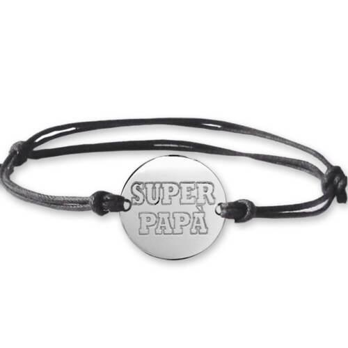 Braccialetto argento con incisione SUPER PAPA/' Idea regalo festa del papà