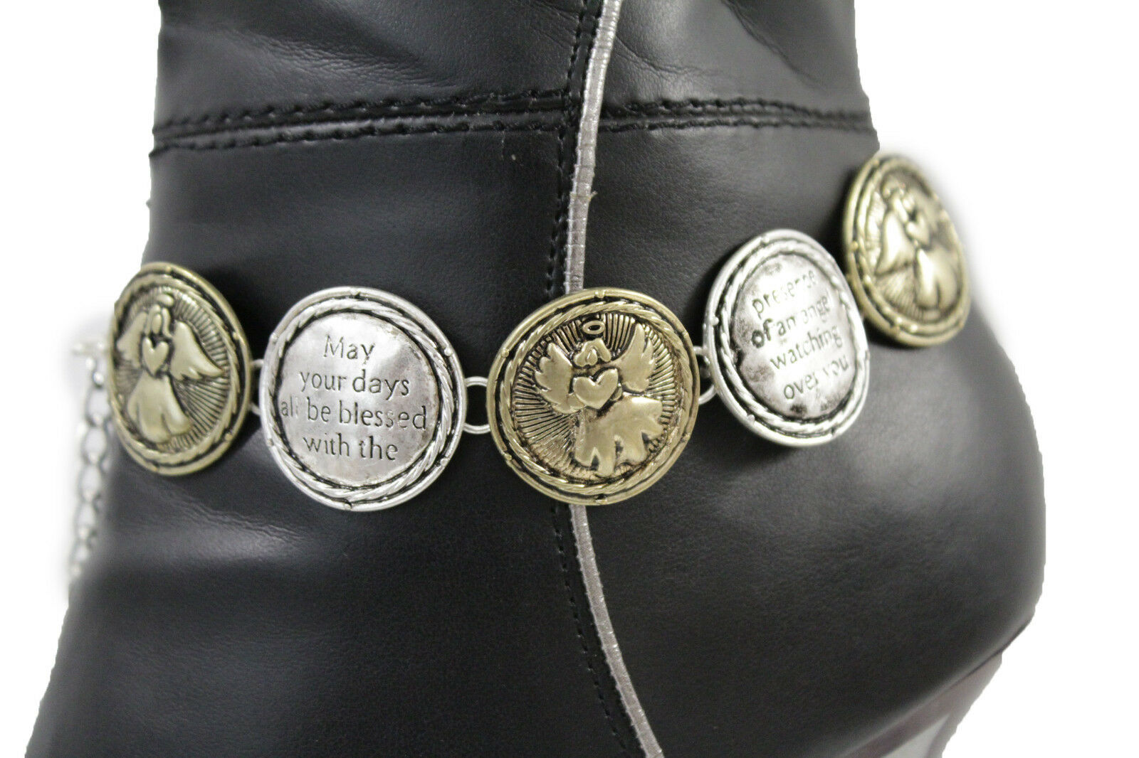 Women Boot Chains Anklet Bracelet Shoe Blessed By Angel Wing Baby Charm Jewelry