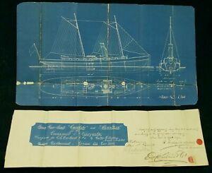 Antique-1891-Maritime-Blueprint-Plans-Venezuelan-Gun-Boats-Signed-New-York-City