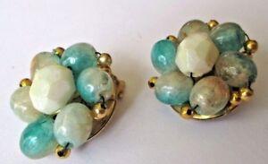 Bien Informé Boucles D'oreilles Clips Bijou Vintage Couleur Or Perle Bleuté Dégradé 243