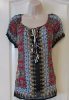 Bila Clothing Viscose Georgette Peasant Blouse Women's Red Sz S-xxl Msrp$57