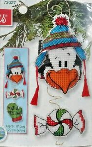 """2004 NIP Counted Cross Stitch Embroidery Kit Penguin Hanger Whimsey 8"""" 7097F"""