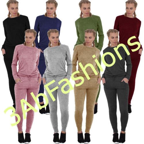 NUOVO Donna LOUNGE WEAR Donna Felpa Pantaloni Sportivi Set BELLE Knit Tuta da Ginnastica Pantaloni