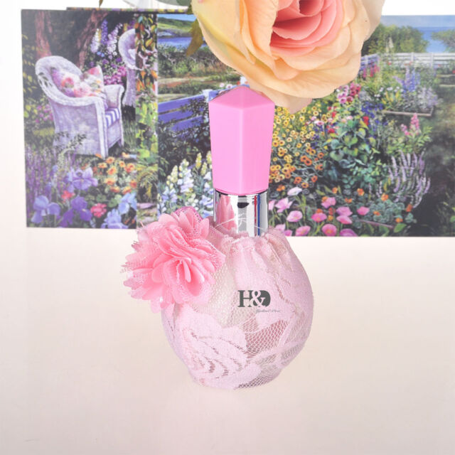 Beautiful Pink Lace Crystal Cut Glass Perfume Bottle Atomiser Empty Bottle Gifts