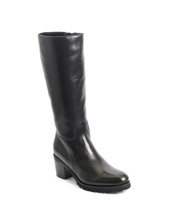 Luca Grossi 4525 Black Leather Sheepskin Knee High / Heel Boots 41 / US 11