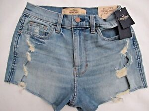 6e67847a8c Details about New HOLLISTER Vintage Stretch High-Rise Denim Shorts UK 6 W  24 RRP £35.00 BNWT