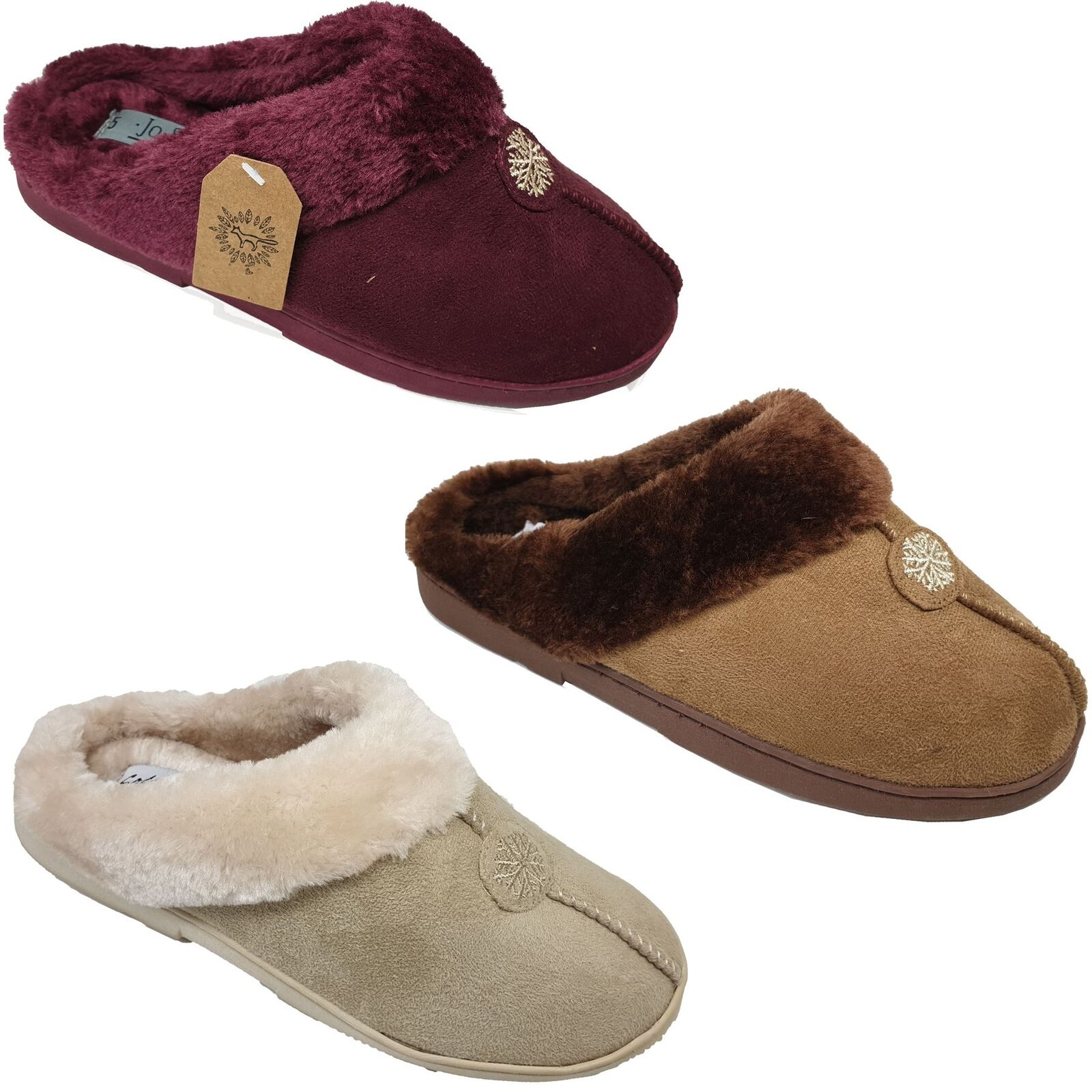 Womens Snowflake Sole Faux Fur Lines Backless Firm Sole Snowflake Comfortable Mule Slippers 0930d0