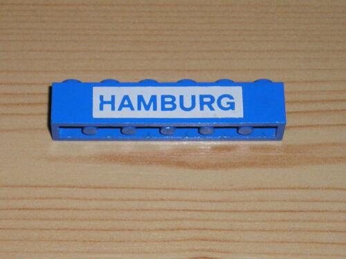 Lego Stein 1x6 blau mit Aufschrift Hamburg  3009px21 113 1923