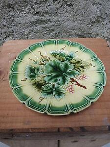 Ancienne assiette murale d co florale vigne raisin - Assiette murale ...