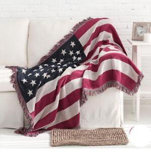 Image Is Loading Us Flag Full Cotton Fl Fringed Blanket Tapestry