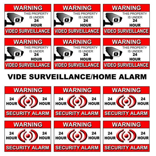 6 video surveillance warning sticker SIGN cctv decal caution security home alarm